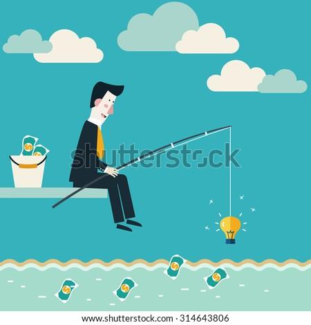 Zakenman vissen munten jonge mistig stad Stockfoto © ra2studio