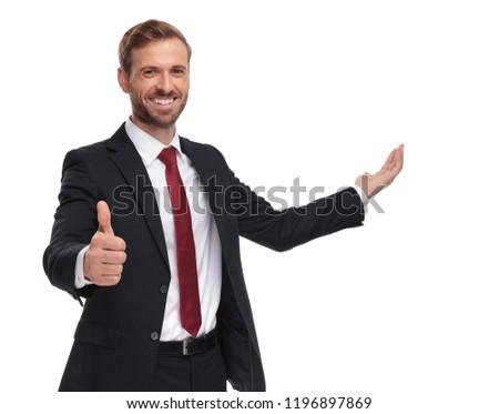 Stockfoto: Portret · glimlachend · zakenman · teken
