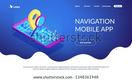 mobile tracking soft isometric 3d landing page stock photo © rastudio