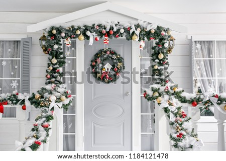 Living Building, Front Exterior of House in Winter Stock photo © robuart