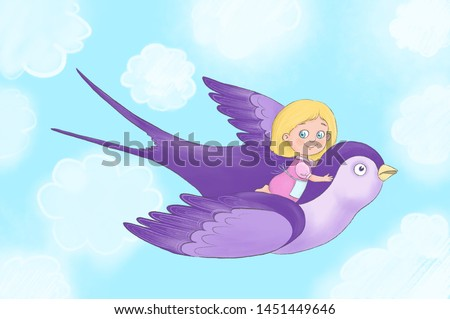 Little Blond Girl Fly High with sky on the background Stock photo © Lopolo