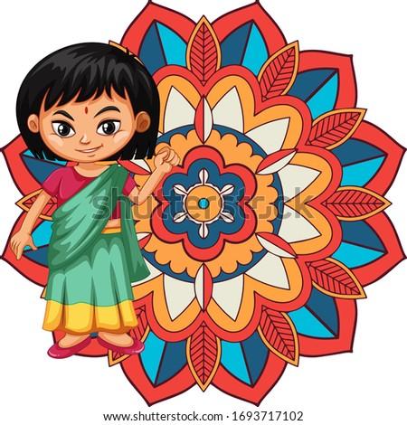 Mandala model dizayn Hint kız gülen Stok fotoğraf © bluering