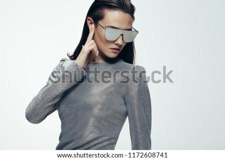 ezüst · modern · futurisztikus · acél · szemüveg · nő - stock fotó © lunamarina