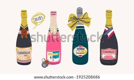 vidro · champanhe · em · pé · garrafa · branco · festa - foto stock © Rob_Stark
