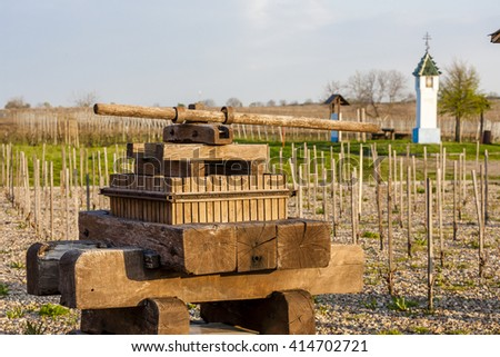 wayside with vineyard near velke bilovice czech republic stock photo © phbcz