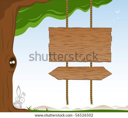 Cartoon Rabbit Wood Sign Stock photo © cthoman