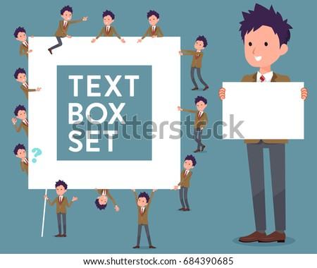 flat type school boy Brown Blazer_text box Stock photo © toyotoyo
