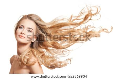 Atrakcyjna kobieta długie włosy uśmiecha odizolowany biały atrakcyjny Zdjęcia stock © artjazz
