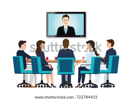 business people attending videoconference meeting stock photo © andreypopov