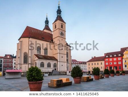 Novo igreja Alemanha protestante cidade velha relógio Foto stock © borisb17