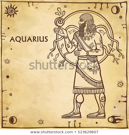 Brown Line Art of Aquarius Zodiac Sign on a Beige Background Stock photo © cidepix