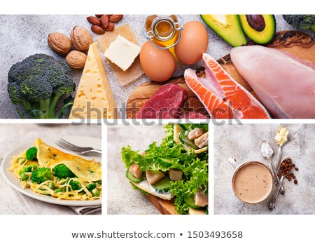 Food collage. Ketogenic products and dishes Stock photo © furmanphoto