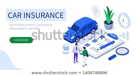 Sigorta komisyoncu iniş sayfa özellik taşıma Stok fotoğraf © RAStudio
