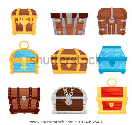 Treasure Chest Protected Metal Lock Color Vector Stock photo © pikepicture