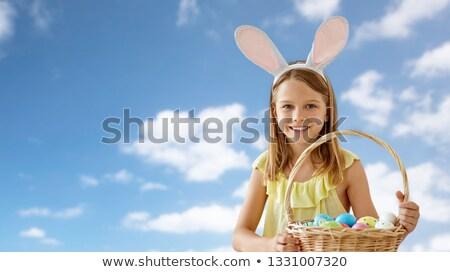 szczęśliwy · wesoły · dziewczyna · bunny · kłosie - zdjęcia stock © dolgachov