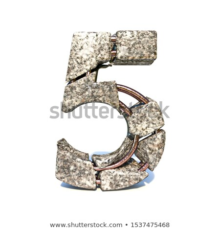 Concrete fracture font Number 5 FIVE 3D Stock photo © djmilic