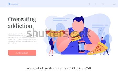 Gedwongen overeten wanorde vector metaforen zwaarlijvigheid Stockfoto © RAStudio