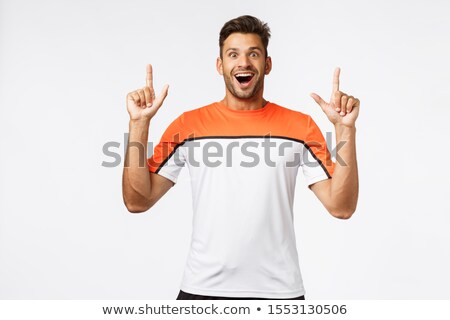 Astonished, fascinated masculine bearded man, masculine sportsman gasping amused, open mouth amazed, Stock photo © benzoix