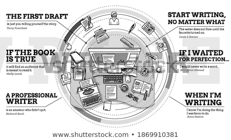 Arbeit promo modernen Illustration Förderung Werbung Stock foto © ConceptCafe