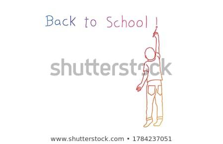 Dziecko chłopca pisać kaligrafia ilustracja Zdjęcia stock © lenm