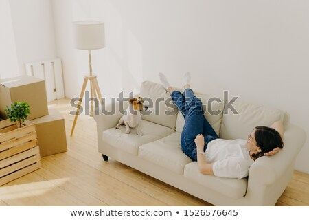 Relocation and mortgage concept. Relaxed brunette woman has rest on comfortable sofa, wears t shirt, Stock photo © vkstudio