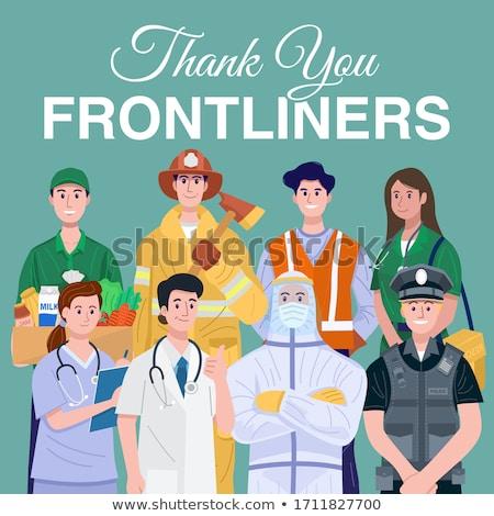 Polícia bombeiro EUA apoiar ilustração Foto stock © enterlinedesign
