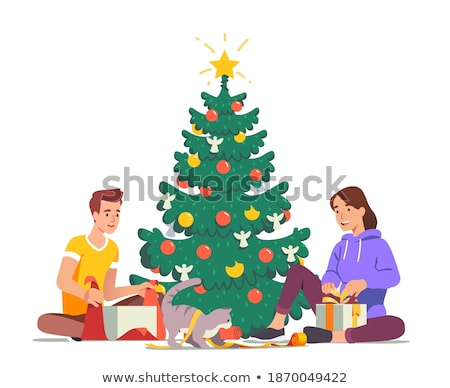 Woman Holding Present near Fir-tree at Home Vector Stock photo © robuart