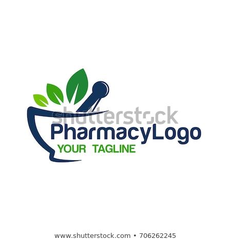 mortar and pestle logo icon, health medical pharmacy symbol vector design illustration Stock photo © gothappy