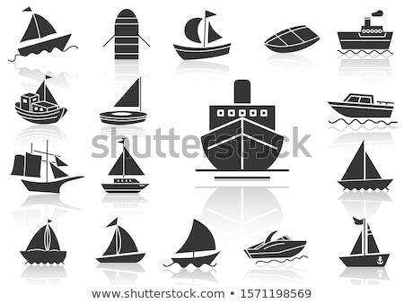 Scheepvaart aankomst icon vector schets illustratie Stockfoto © pikepicture