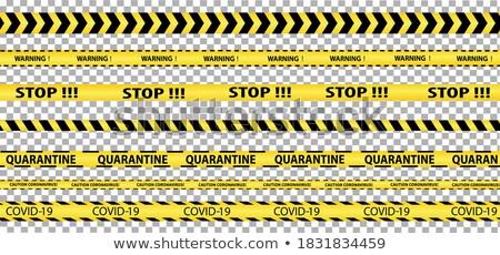 Vector biohazard danger yellow black seamless tape set isolated on transparent background. Safety Stock photo © Iaroslava