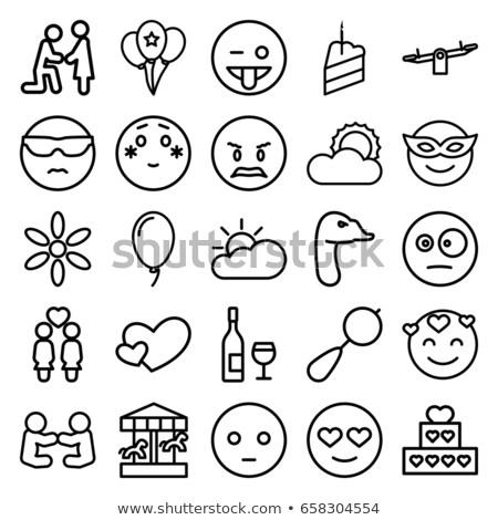Happy cloud emoji outline illustration Stock photo © barsrsind