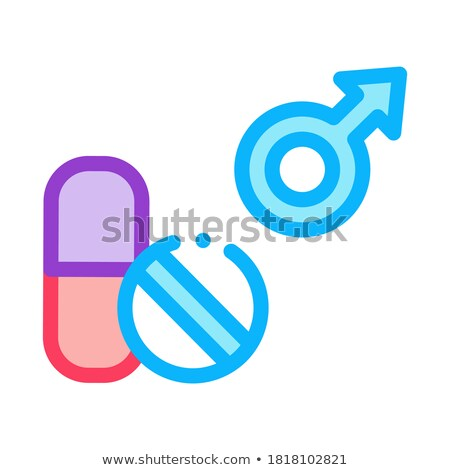 Pills Man Power Icon Vector Outline Illustration Stock photo © pikepicture