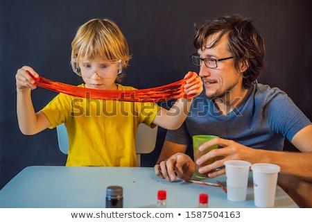 Apa fia vegyi otthon házi nyálka gyerekek Stock fotó © galitskaya