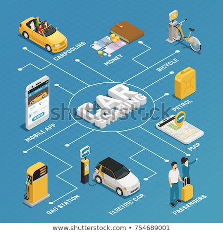 Car Sharing Business Isometric Icons Set Vector Stock photo © pikepicture