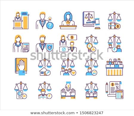 Zatrudnienie skali sprawiedliwości ikona wektora Zdjęcia stock © pikepicture