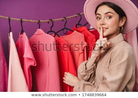 фото счастливым кавказский женщину молчание Сток-фото © deandrobot