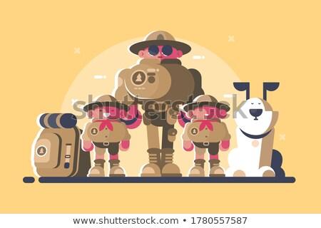 Grupo mochila cão cabeça crianças ilustração Foto stock © jossdiim