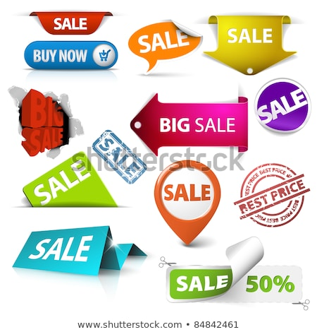 collection of vector green sale tickets labels stamps stock photo © orson