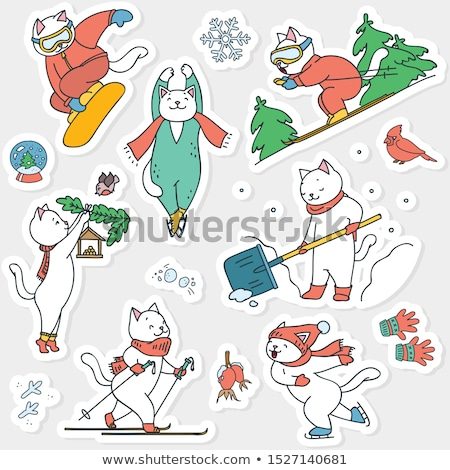 Ski oiseau cute chat écharpe oreilles Photo stock © KonArt