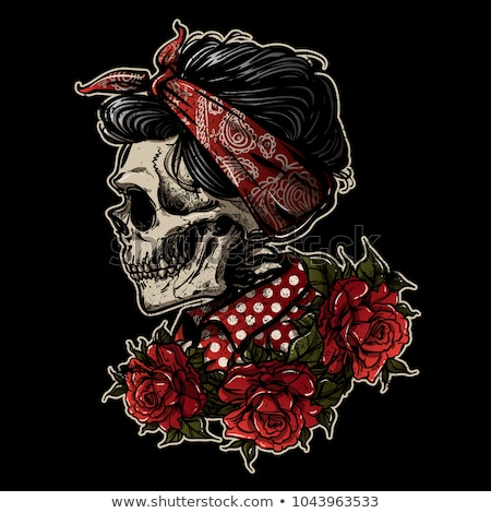 sugar skull girl with red rose stock photo © elisanth