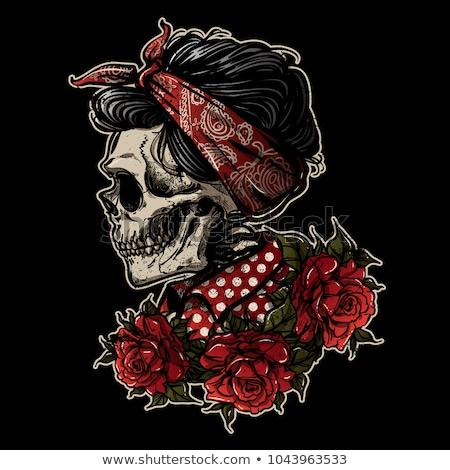 ストックフォト: 砂糖 · 頭蓋骨 · 少女 · 赤いバラ · プロ · 女性