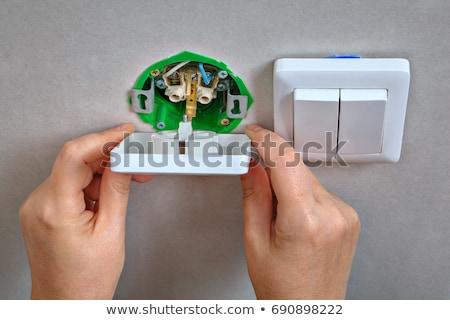 électricien interrupteur de lumière bleu salle de bain intérieur blanche Photo stock © photography33