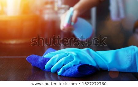 Schoonmaken doek man nat Geel Stockfoto © Stocksnapper