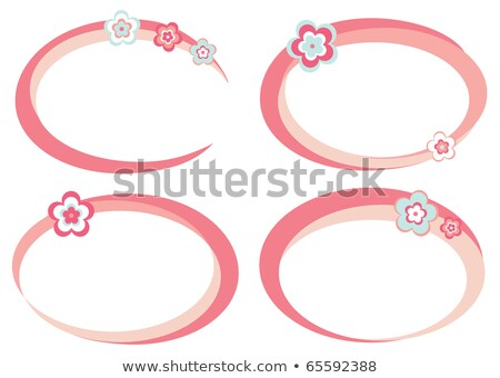 Floral ellipse frame with pink flowers Stock photo © boroda