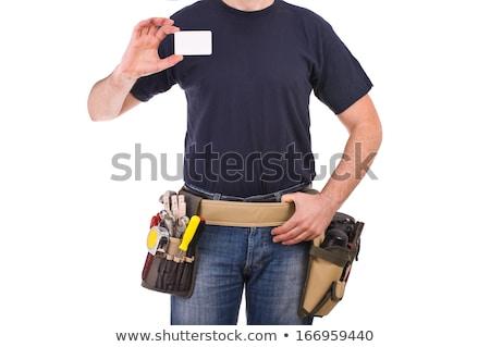 építőmunkás · névjegy · tart · üzlet · bemutatkozás · férfi - stock fotó © photography33