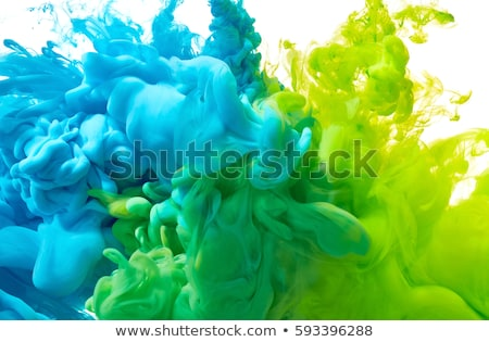 close up of green paint drops on white background  stock photo © inxti
