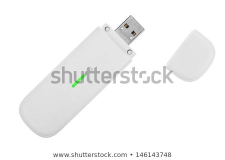 Usb modem sem fio laptop isolado branco Foto stock © alex_davydoff