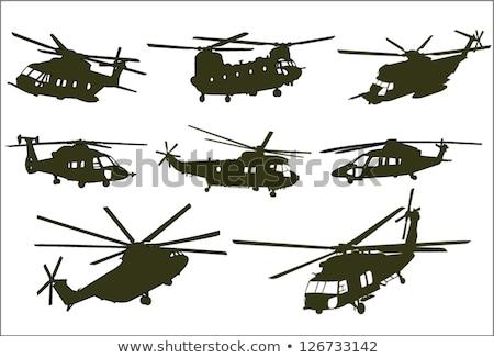 levegő · harc · helikopter · kék · hadsereg · katonaság - stock fotó © leonido