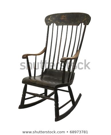 szék · pléd · öreg · fehér · téglafal · szoba - stock fotó © grafvision
