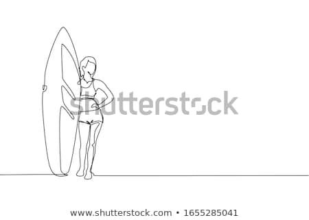 Női szörfös tengerpart naplemente nő égbolt Stock fotó © iko